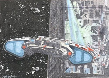 Roy Cover Sketch - USS Defiant and Borg Cube