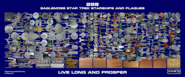 Star Trek Starships Collections Ships and Plaques at comparative model size