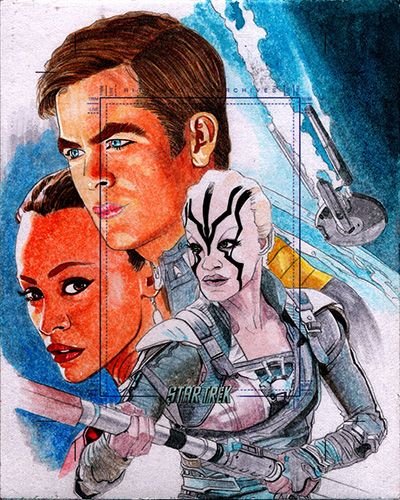 Roy Cover AR Sketch - Kirk, Uhura and Jaylah