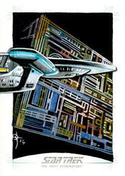 León Braojos Sketch - USS Enterprise NCC 1701-D and Borg Cube