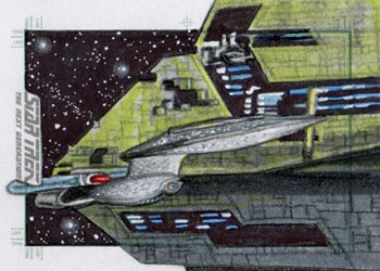 Adam & Bekah Cleveland Sketch - USS Enterprise NCC 1701-D and Renegade Borg Ship #1