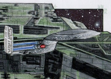 Adam & Bekah Cleveland Sketch - USS Enterprise NCC 1701-D and Renegade Borg Ship #3