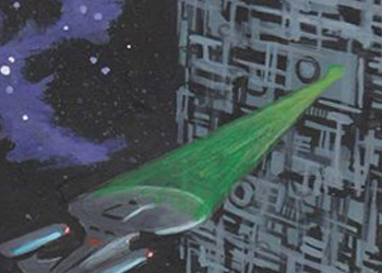 David Day Sketch - USS Enterprise NCC 1701-D and Borg Cube