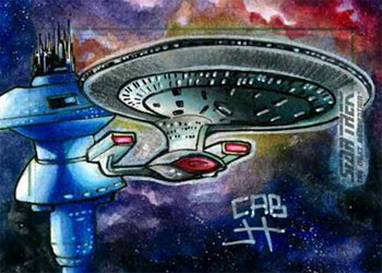James Hiralez Sketch - USS Enterprise NCC 1701-D & Spacedock