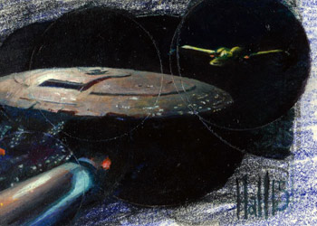 Charles Hall Sketch - USS Enterprise NCC 1701-D and Klingon Bird of Prey