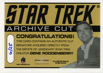 Gene Roddenberry Cut Signature Card