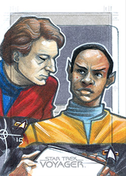 León Braojos Sketch - Tuvok and Q