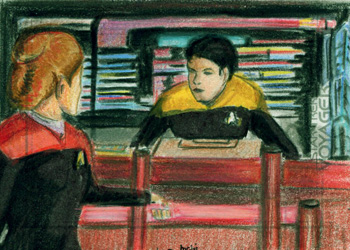 Laura Inglis Sketch - Janeway and Harry Kim on the Bridge
