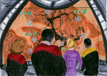 Laura Inglis Sketch - Crew Observing the Borg Transwarp Hub
