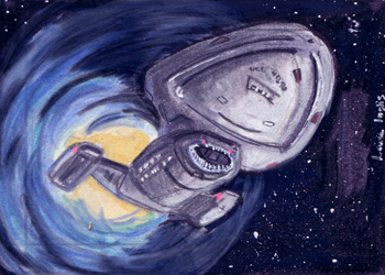 Laura Inglis Sketch - USS Voyager and Bajoran Wormhole
