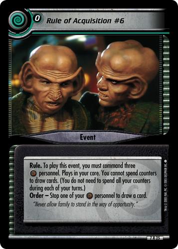 Star Trek CCG 2E SNW Strange New Worlds Rule of Acquisition #144 7R29